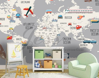 3D Nursery Kids Room Vehicle World Map Removable Wallpaper Peel Stick Wall  Mural,Wall Decal,Children Toddler,Baby, Wall Sticker L9