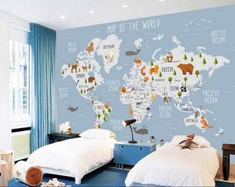 Removable wallpaper etsy 3d kids animal world map removable wallpaperpeel and stick wall mural floral wall artwall decalkidsnurserywall sticker 13 gumiabroncs Choice Image
