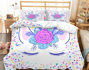 fe0e585aad 3D Cartoon, Unicorn Bedding Set Quilt Cover Quilt Duvet Cover ,Pillowcases  Personalized Bedding,Queen, King ,Full, Double 3 Pcs