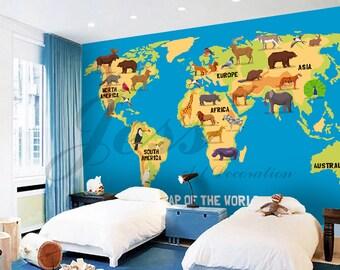 Papier peint carte du monde | Etsy