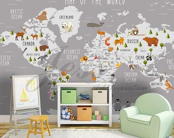 Captivating 3D Nursery Kids Room Animal World Map Removable Wallpaper Peel Stick Wall  Mural,Wall Decal,Children Toddler,Baby, Wall Sticker L9