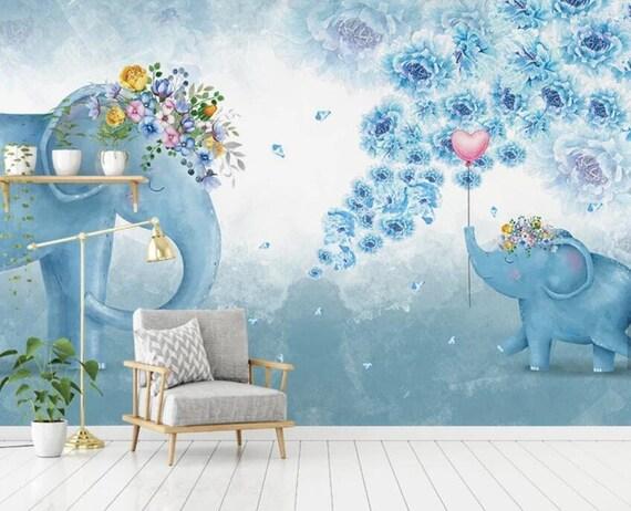 3D Kinder, Cartoon, verträumt, Elefant Tapete Kinderzimmer Tapete abnehmbar  Wallpaper-Schale und Stick Wandbild, Spielzimmer Tapete Wand-Dekor