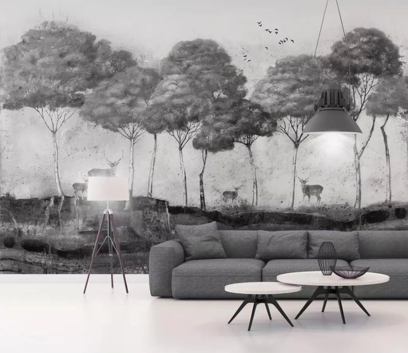 Wall Mural,Vintage art,Peel and Stick Tropical Wallpaper Removable Self Adhesive Wallpaper 3D Black and white