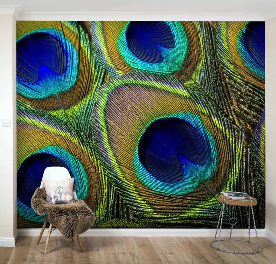 3d Details Peacock Feather Wallpaper Removable Self Adhesive Etsy