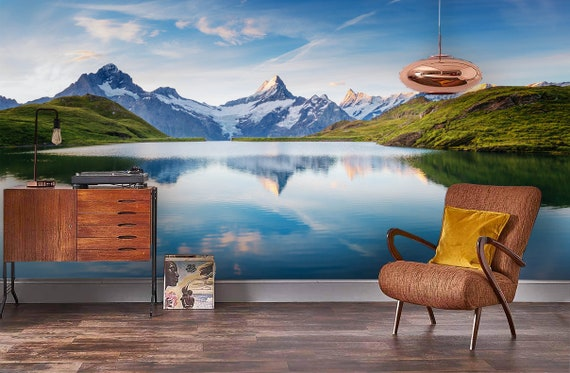 3D Calm lake Removable Self Adhesive Wallpaper Wall Mural,Vintage art,Peel and Stick Mountain scenery Wallpaper
