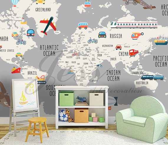 3D Nursery Kids Room Vehicle World Map Removable Wallpaper | Etsy
