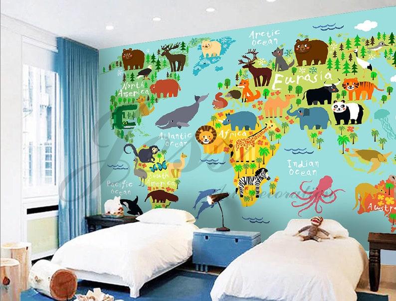 World Map Removable Wall Sticker.3d Nursery Kids Animals World Map Removable Wallpaper Peel Etsy