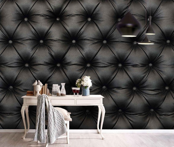 3d Black Leathery Texture Wallpaper Removable Self Adhesive Etsy