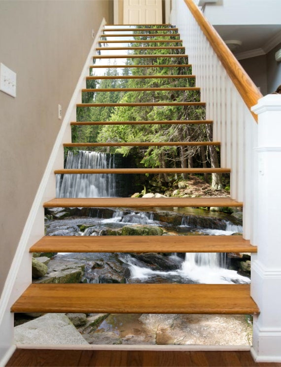 3d Single Water Fall Stair Risers Mural Pvc Sticker Mural Photo Mural Vinyl Decal Wallpaper Removable Peel Off Stick On 45