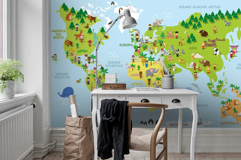 Ethnic Minority 3d Kids World Map Wallpaper Nursery Wallpaper Removable Wallpaper Peel And Stick Wall Mural
