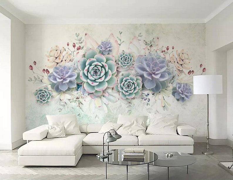 traditional wallpaper material Peel and stick Wall Mural wallpaper 3D Floral Succulent Self Adhesive Removable wallpaper Watercolor
