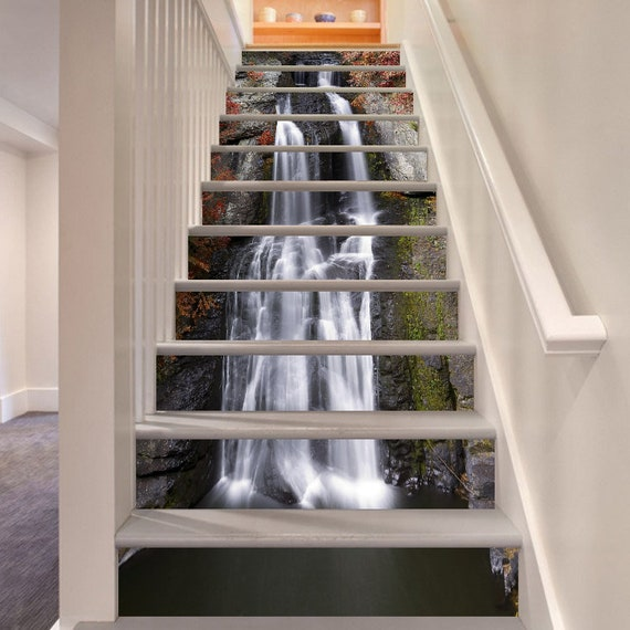 3d Amazing Water Fall Stair Risers Mural Pvc Sticker Mural Photo Mural Vinyl Decal Wallpaper Removable Peel Off Stick On 42