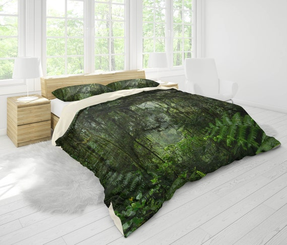 3d Mysterious Green Forest Bedding Set Quilt Cover Quilt Etsy
