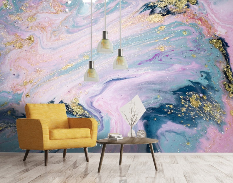 Removable Self Adhesive Wallpaper 3D Purple watercolor background Wall Mural,Vintage art,Peel and Stick Feather Wallpaper
