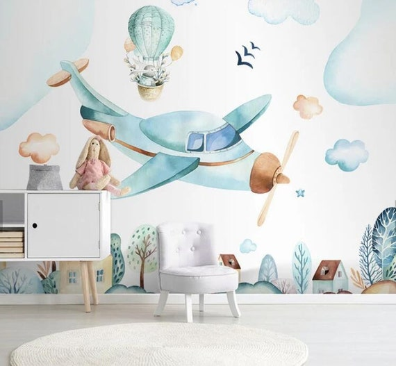 3d Kids Watercolor Aircraft Wallpaper Nursery Wallpaper Removable Wallpaper Peel And Stick Wall Mural Playroom Wallpaper Wall Decor