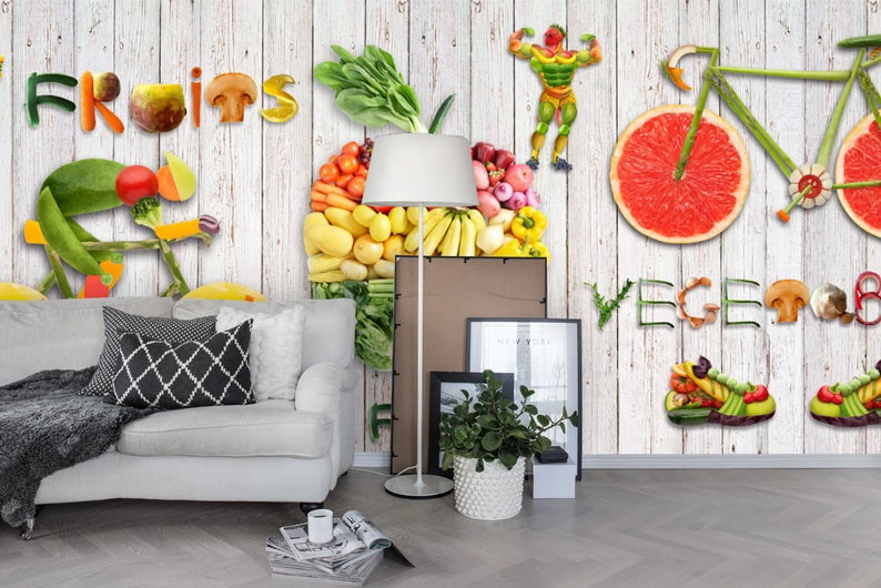 Healthy Athletic Wallpaper 3D Fresh fruity Removable Self Adhesive Wallpaper Wall Mural,Vintage art,Peel and Stick