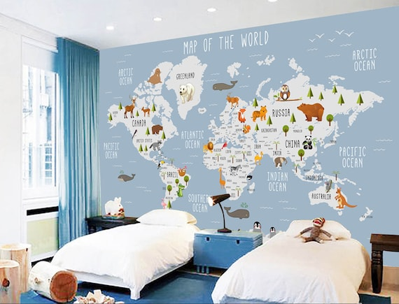 World Map Removable Wall Sticker.3d Kids Animal World Map Removable Wallpaperpeel And Stick Etsy