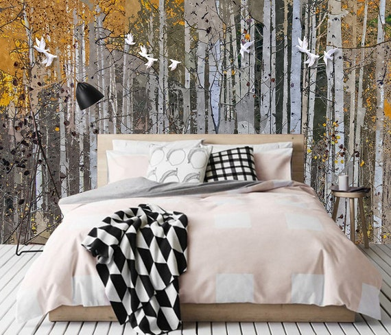 3d Abstract Forest Removable Tapete Peel And Stick Wall Mural Floral Wall Art Wall Decal Wall Mural Kids Nursery Wall Sticker 01
