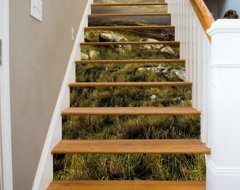3D Grass Land  Stair Sticker Stair Risers PVC Sticker Mural Picure Decor Sccenery  Removable Peel off & Stick on 71