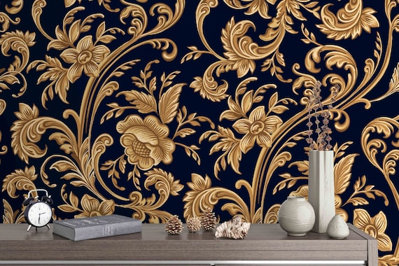 3d Black And Gold Floral Pattern Removable Wallpaper Peel Stick Wall Mural Floral Wall Art Wall Decal Kids Wall Sticker Jess Art 42