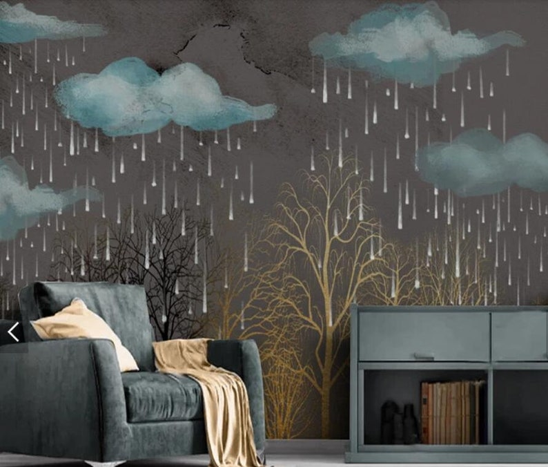Forest Wall Mural,Vintage art,Peel and Stick Hand-painted Removable Self Adhesive Wallpaper Nostalgic 3D Vintage Rain scene Wallpaper