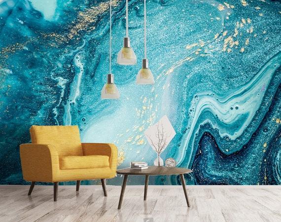 3d Natural Luxury Swirlspink Blue Marble Texture Wallpaper Etsy