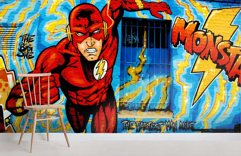 3D The FlashGraffiti Wallpaper Removable Self Adhesive image 0