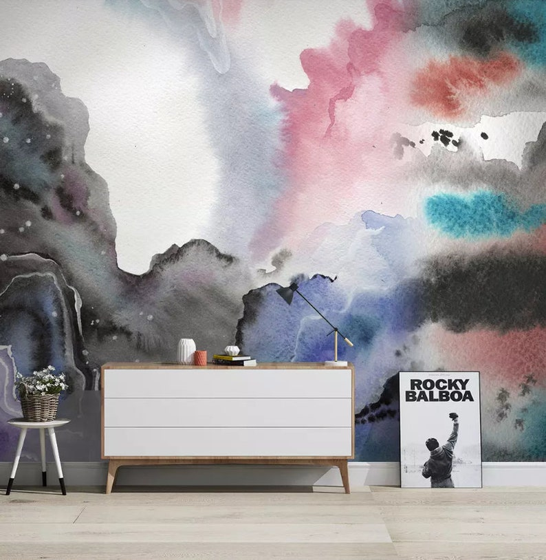 Watercolor Wall Mural,Vintage art,Peel and Stick 3D Abstract Smudge Wallpaper Removable Self Adhesive Wallpaper