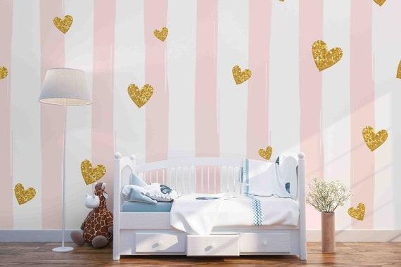 3d Pink Strips Gold Heart Removable Wallpaper Peel Stick Wall Mural Wall Art Wall Decal Kids Nursery Wall Sticker Jess Art 42