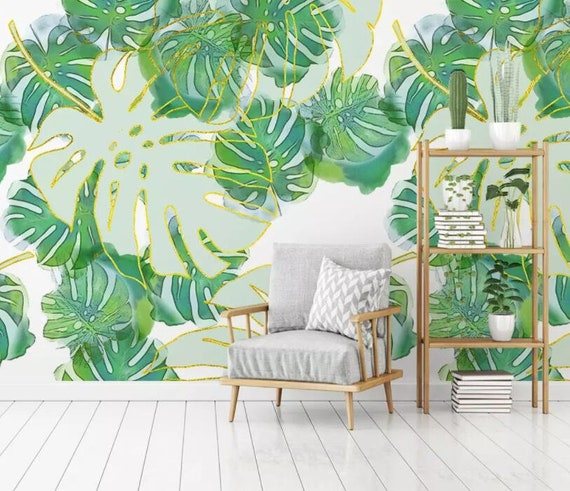 3D Tropical Leaves Green Self-adhesive Removable Wallpaper Murals Wall Sticker