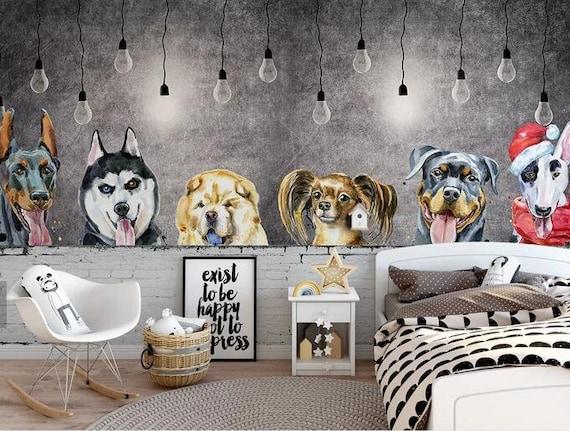 3d Kids Cartoon Dogs Wallpaper Nursery Wallpaper Removable Wallpaper Peel And Stick Wall Mural Playroom Wallpaper Wall Decor