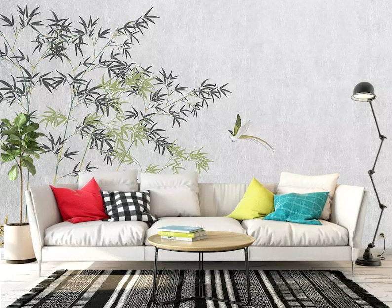 Removable Self Adhesive Wallpaper 3D Chinese Vintage Bamboo Wallpaper Wall Mural,Vintage art,Peel and Stick