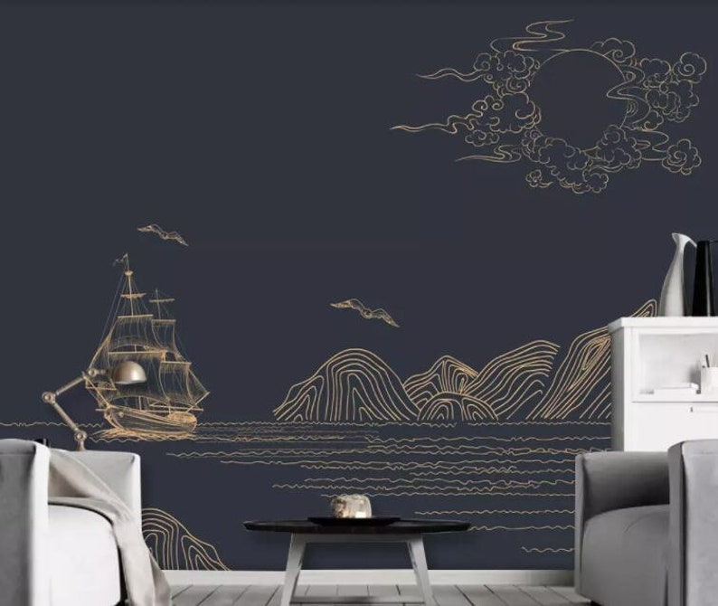 Landscape Removable Self Adhesive Wallpaper Golden lines Wallpaper 3D Chinese style Wall Mural,Vintage art,Peel and Stick