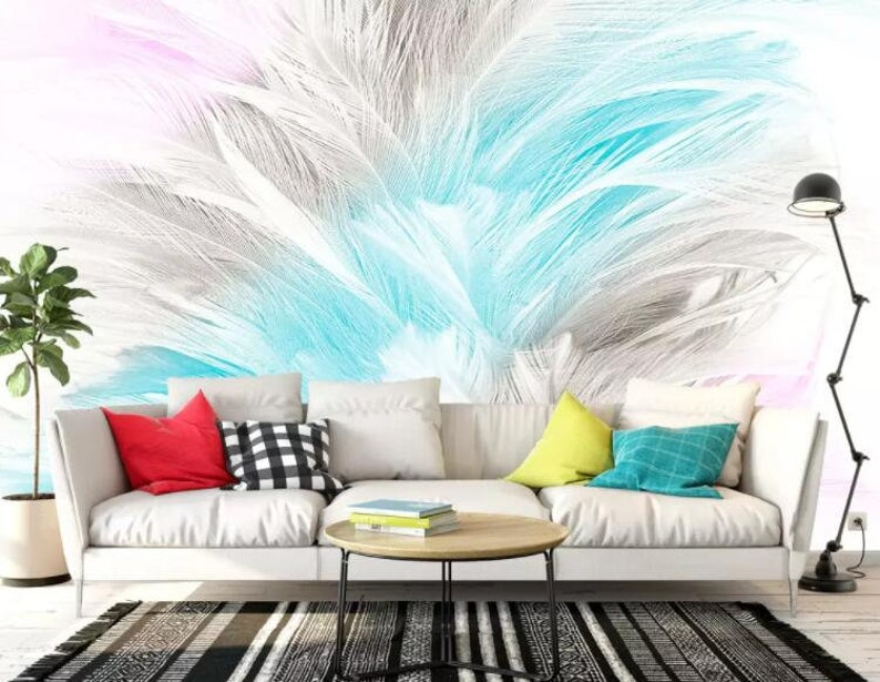 Wall Mural,Vintage art,Peel and Stick Removable Self Adhesive Wallpaper 3D Abstract Soft Watercolor Feather Wallpaper