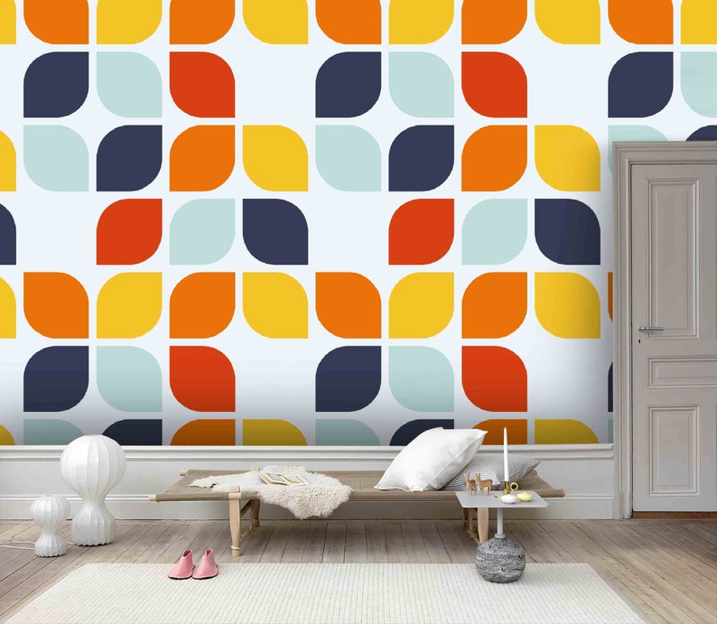 Removable Self Adhesive Wallpaper Wall Mural,Vintage art,Peel and Stick Geometric shape Wallpaper 3D Warm color