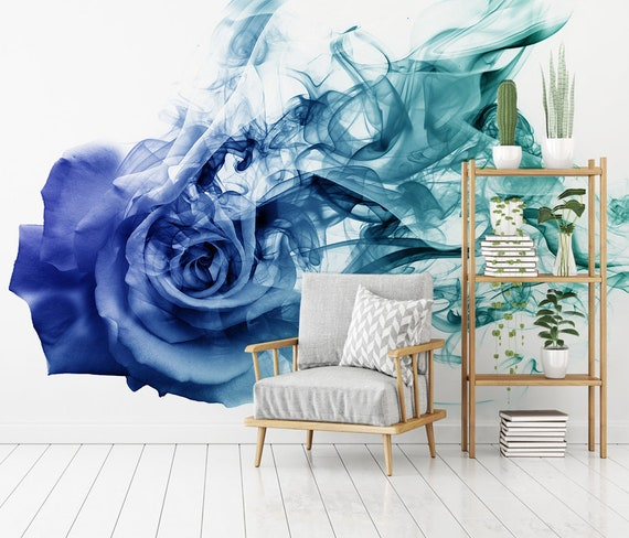 3d Abstract Blue Rose Removable Tapete Peel And Stick Wall Mural Floral Wall Art Wall Decal Wall Mural Kids Nursery Wall Sticker 02