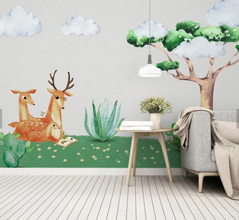 3D Black Sketch Sika Deer Wallpaper Wall Mural Removable Self-adhesive 320