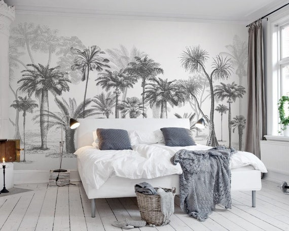 3d Black White Abstract Palmwald Abstrapsel Entfernung Tapete Peel And Stick Wall Mural Floral Wall Art Wall Decal Kids Nursery Wall Sticker 14