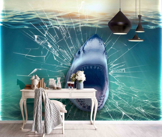 3D Fierce Shark Self-adhesive Removable Photo Wallpaper Wall Mural