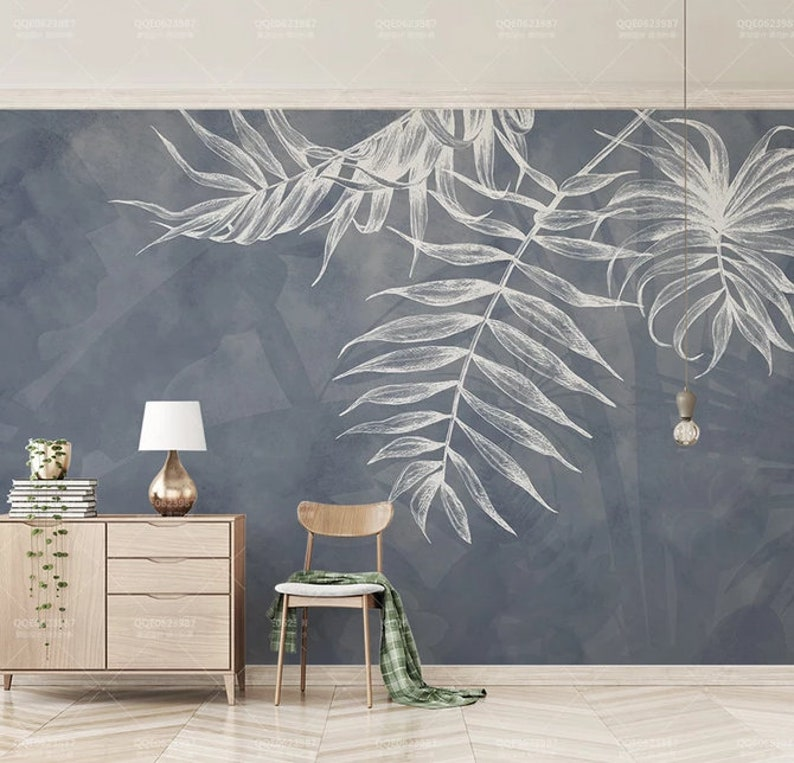 3D White Leaves  Removable WallpaperPeel and stick Wall image 0