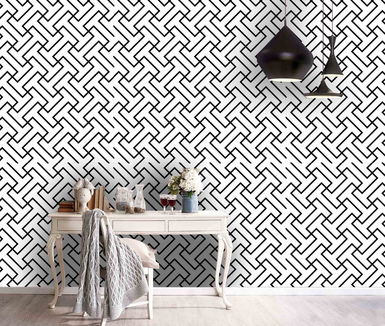 3D Regular Wall Mural,Vintage art,Peel and Stick Removable Self Adhesive Wallpaper Abstract Line Wallpaper
