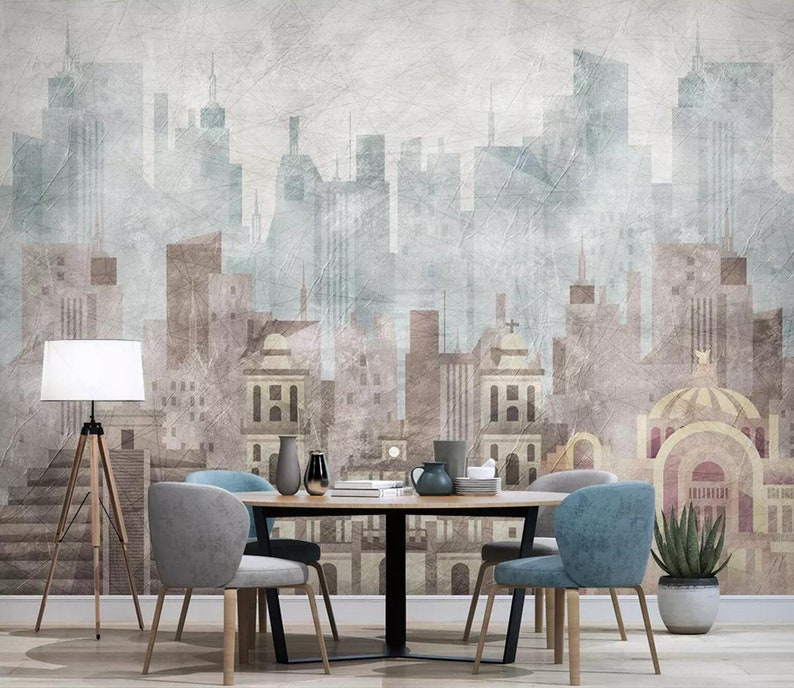 Wall Mural,Vintage art,Peel and Stick 3D Foggy Building city Wallpaper Removable Self Adhesive Wallpaper Watercolor