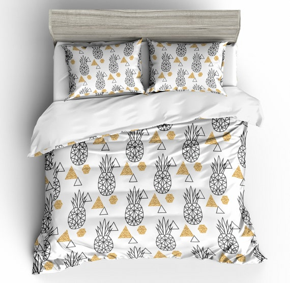 3d White Abstract Triangle Pineapple, Pineapple Bedding Set