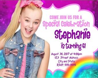 Jojo Siwa Inspired Birthday Invitation Jojo Siwa Hot Pink Etsy