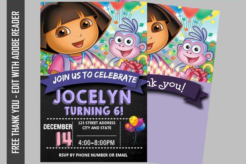 Dora The Explorer Birthday Invitation Dora Party Invitation Dora Invitation Dora Editable Dora Birthday Invitation Dora The Explorer