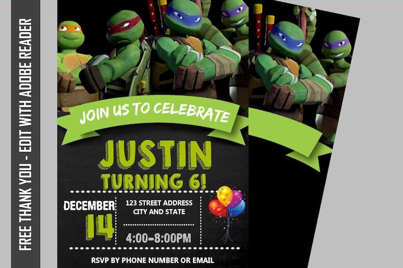 Instant Download TMNT Birthday Invitation Teenage Mutant Ninja Turtles Chalkboard Free Thank You Card