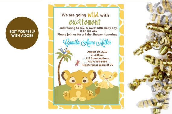 Lion king baby shower invitation lion king baby shower lion etsy image 0 filmwisefo