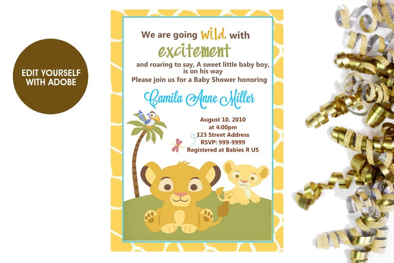Lion King Baby Shower Invitation Lion King Baby Shower Lion Etsy