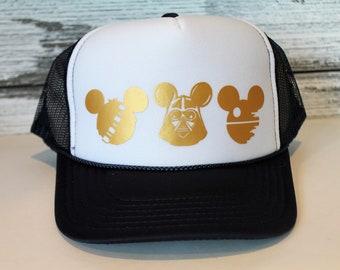 quality design 598cd 96577 Disney Star Wars Trucker Hat   Kids Star Wars Hat   Mens Star Wars Hat    Womens Star Wars Hat   Wookie Hat   Darth Vader Hat   Death Star