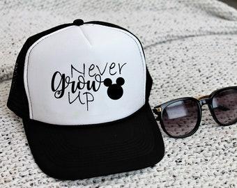 33b470921da866 Disney Never Grow Up Trucker Hat Mickey Snapback Mesh Hat Women Men Ball Cap